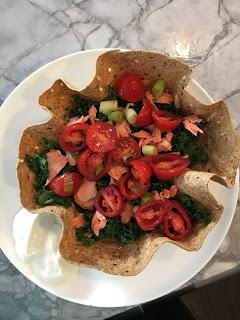 Kale and Salmon Tortilla Bowl!