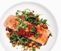 White Wine Poached Salmon with Quinoa and Arugula